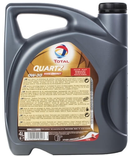 TOTAL Quartz 9000 Energy 0W30 1 л обратная сторона канистры