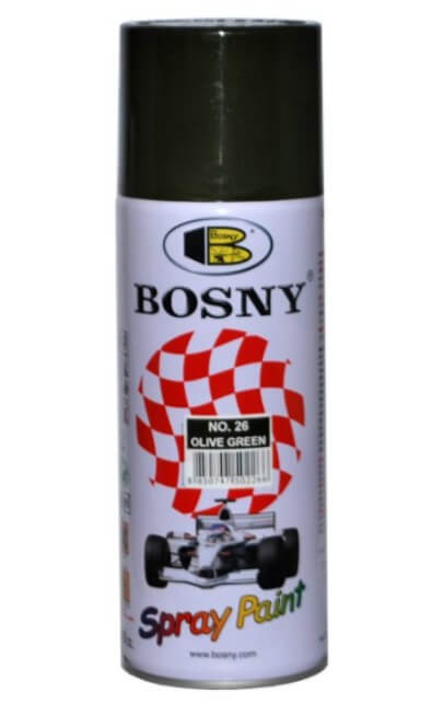 Краска акриловая Bosny, цвет оливково-зеленый RAL 6003, 400 мл