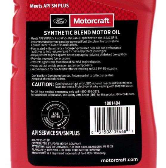 Масло FORD Motorcraft Premium Synthetic Blend 5W-30, 0,946 л, этикетка