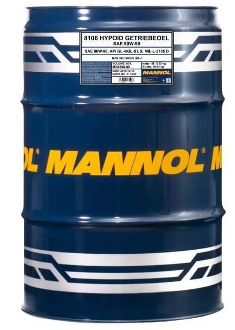 масло Mannol Hypoid Getriebeoel 80W-90, 60 л