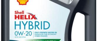 синтетическое масло Shell Helix Hybrid 0W-20 5 л